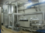 Water chilling system, providing cool water to the short path distillation condenser